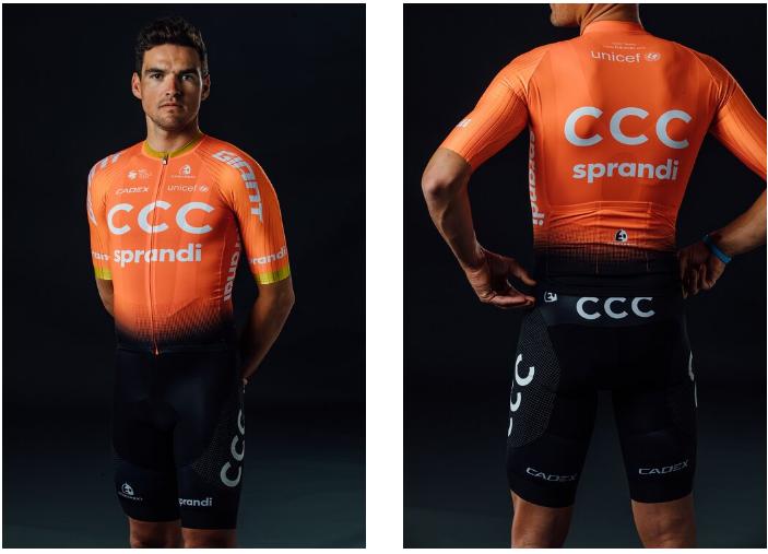Il colore dell'abbigliamento del team CCC è rimasto invariato nel 2020