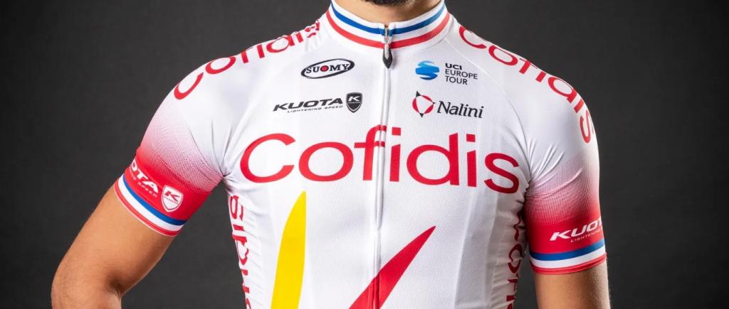 Maglia da ciclismo Cofidis rossa, bianca e blu