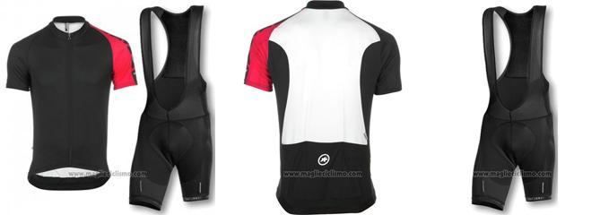 2016 Abbigliamento Ciclismo Assos Nero e Rosso Manica Corta e Salopette
